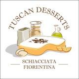 Traditional Tuscan dessert vector illustrationn royalty free stock photos