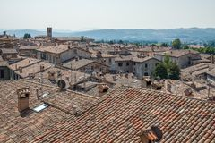 Traditional Tuscan roofs. Aereal view of traditional Tuscan roofs stock photography