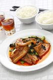 Traditional twice cooked pork. Sichuan style chinese dish Royalty Free Stock Photos