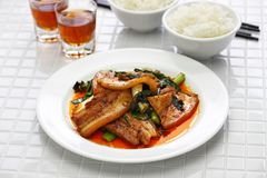 Traditional twice cooked pork. Sichuan style chinese dish Royalty Free Stock Images