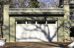 Traditional two car garage stock photography
