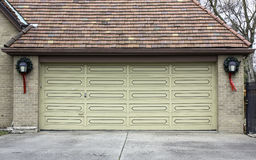 Traditional two car wooden garage Royalty Free Stock Photos