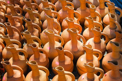 Traditional typical handmade ceramics jugs. Royalty Free Stock Photography