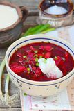 Traditional Ukrainian beet soup borsch Royalty Free Stock Image