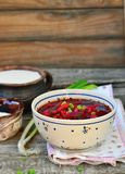 Traditional Ukrainian beet soup borsch Royalty Free Stock Images