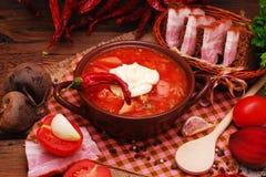 The traditional Ukrainian beet soup borscht Stock Photos