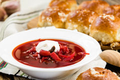 Traditional Ukrainian beetroot soup - red borsch Royalty Free Stock Images