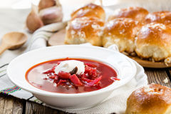 Traditional Ukrainian beetroot soup - red borsch Royalty Free Stock Image
