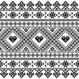 Traditional Ukrainian or Belarusian folk art knitted black embroidery pattern Stock Image