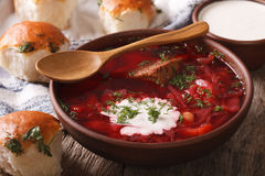Traditional Ukrainian borsch soup close up in a bowl. horizontal Stock Photography