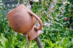 Traditional Ukrainian clay jug standing on a cut tree. Ancient traditional Ukrainian clay pot standing on a cut tree in summer garden Royalty Free Stock Photos