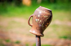 Traditional Ukrainian clay pot Royalty Free Stock Image
