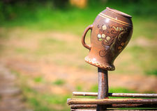 Traditional Ukrainian clay pot Royalty Free Stock Photography