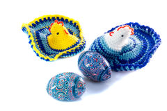 Traditional Ukrainian culture . ?andles, painted eggs, chicken symbolic, souvenir Stock Photography