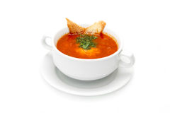 Traditional Ukrainian dish borsch with dill and croutons royalty free stock images