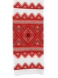 Traditional Ukrainian embroidery. Traditional Ukrainian embroidered towel isolated on a white background Stock Photo