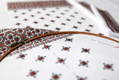 Traditional Ukrainian fabric with colorful embroidery Stock Images