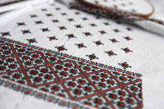 Traditional Ukrainian fabric with colorful embroidery Royalty Free Stock Photo