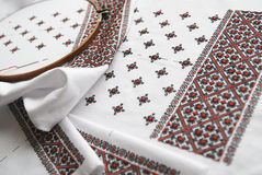 Traditional Ukrainian fabric with colorful embroidery Royalty Free Stock Photos