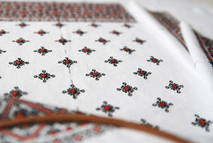 Traditional Ukrainian fabric with colorful embroidery Royalty Free Stock Photography