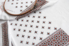 Traditional Ukrainian fabric with colorful embroidery Stock Image