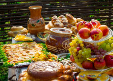 Traditional ukrainian food. In assortment in festive decorating Royalty Free Stock Photos