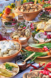 Traditional ukrainian food in assortment. In festive decorating stock photography