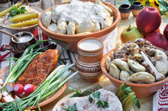 Traditional ukrainian food in assortment Royalty Free Stock Photos
