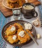 Traditional Ukrainian homemade potato pancakes (draniks) Stock Photo