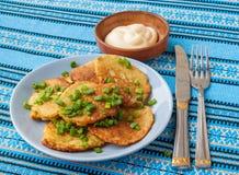 Traditional Ukrainian homemade potato pancakes (draniks) Royalty Free Stock Image
