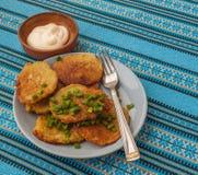 Traditional Ukrainian homemade potato pancakes (draniks) Royalty Free Stock Photo