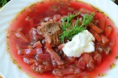 Traditional Ukrainian hot soup borsch Royalty Free Stock Image