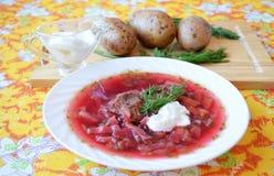 Traditional Ukrainian hot soup borsch Royalty Free Stock Photo
