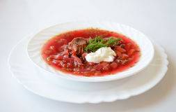Traditional Ukrainian hot soup borsch Royalty Free Stock Photos