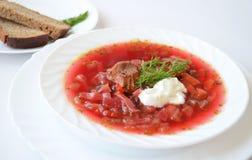 Traditional Ukrainian hot soup borsch Stock Photos