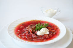 Traditional Ukrainian hot soup borsch Royalty Free Stock Images