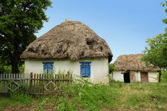 Traditional ukrainian house. This traditional ukrainian village house - hut or by ukrainian hata - were suddenly met by the photographer in the summer journey Royalty Free Stock Photography