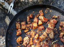 Traditional ukrainian meal, fried on fire. Royalty Free Stock Images