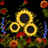 Traditional Ukrainian ornament with sunflower. Stock Image