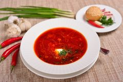 Traditional Ukrainian Russian borscht with white beans on the bowl. Traditional Ukraine food cuisine.  royalty free stock photos