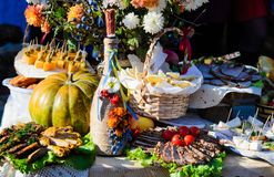 Traditional Ukrainian and Russian cuisine appetizers stock images
