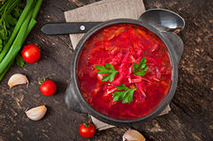 Traditional Ukrainian Russian vegetable borsch Stock Photos