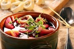 Traditional Ukrainian Russian vegetable borscht with dumplings a Royalty Free Stock Image