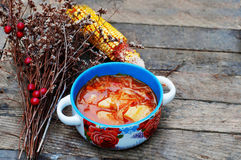 Traditional Ukrainian Russian vegetable borscht on the old wooden background. Ukrainian and russian red-beet soup (borscht) with g Royalty Free Stock Image
