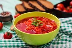 Traditional Ukrainian Russian vegetable borscht soup Royalty Free Stock Photo