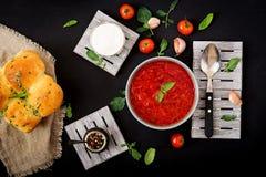 Traditional Ukrainian Russian vegetable borscht soup on green bowl. Royalty Free Stock Photo