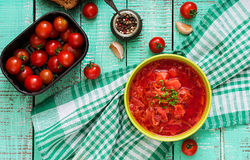 Traditional Ukrainian Russian vegetable borscht soup on green bowl. Stock Images