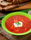Traditional Ukrainian Russian vegetable borscht soup Stock Photo