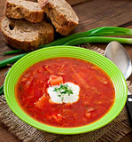 Traditional Ukrainian Russian vegetable borscht soup Stock Image