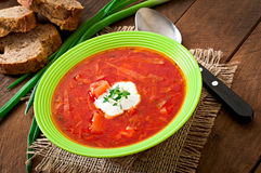 Traditional Ukrainian Russian vegetable borscht soup Royalty Free Stock Images